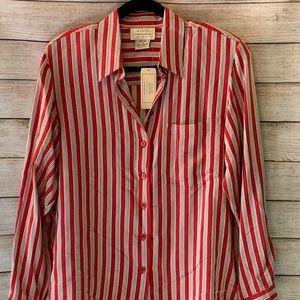 NWT Field Manor striped silk blouse